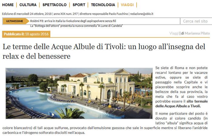 Le terme delle Acque Albule di Tivoli: un luogo all'insegna del relax e del benessere