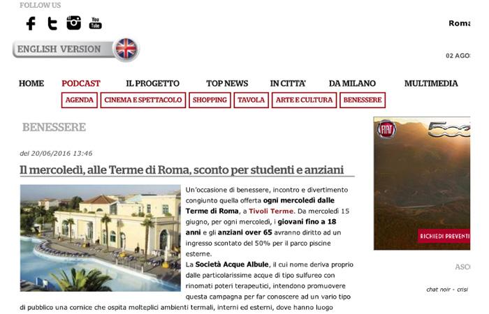 Il Mercoledì, alle Terme di Roma, sconto per studenti e anziani