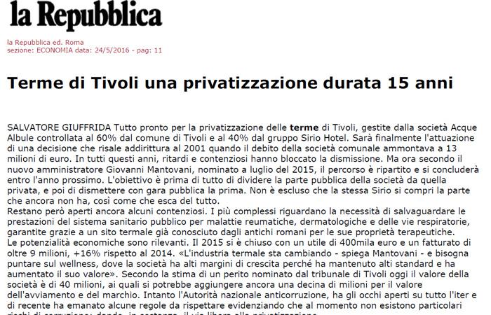 Terme di Tivoli, una privatizzazione durata 15 anni